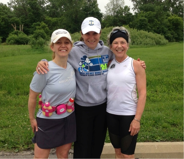Jenny Hadfield with her training buddies Gayle (right) and Janine (left).